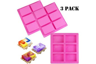 WeiMeet 3 Pieces Silicone Soap Moulds Rectangle Soap Making Moulds for Homemade Soap Chocolate Candy Fondant Moulds Ice Cube Tray