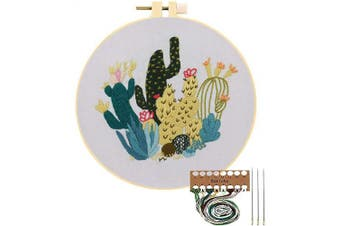 Embroidery Starter Kit with Pattern, Cross Stitch Kit Include Stamped Embroidery Clothes with Floral Pattern, Plastic Embroidery Hoops, Colour Threads and Tools Needlepoint Kits (Cactus)