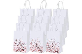 Cooraby 30 Pieces Dot Paper Bags White Paper Gift Bags Birthday Kraft Bag Hen Party Bag Bronzing Rose Gold Bride Wedding Bags with Handle for Party Celebrations