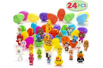 (24 Eggs) - AMASKY Easter Eggs,24 Easter Eggs Filled with Different Mini Figurine Toys Kids Boys and Girls Favorit. (24 Eggs)