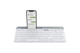 Logitech K580 Slim Multi-Device Wireless Keyboard  - White, A Quiet Keyboard For PC, Mac, Phone and