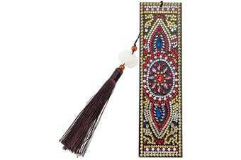 (Style a) - DIY Diamond Painting Bookmark Kits, Artscope Creative Leather Tassel Bookmark Art Craft 5D Special Shaped Crystal Rhinestones Bookmark for Kids Adults Beginner (Style A)