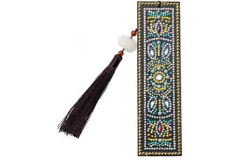 (Style H) - DIY Diamond Painting Bookmark Kits, Artscope Creative Leather Tassel Bookmark Art Craft 5D Special Shaped Crystal Rhinestones Bookmark for Kids Adults Beginner (Style H)