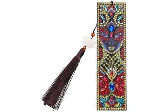 (Style E) - DIY Diamond Painting Bookmark Kits, Artscope Creative Leather Tassel Bookmark Art Craft 5D Special Shaped Crystal Rhinestones Bookmark for Kids Adults Beginner (Style E)
