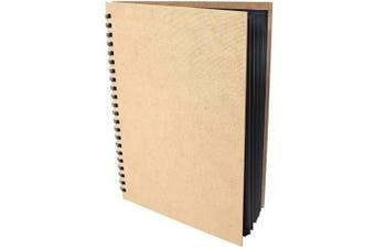 (A4) - Artway Enviro Spiral Bound Black Card Sketchbook - 270gsm, A4 Portrait, hardback
