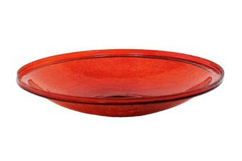 (36cm , Red) - Achla Designs Crackle Glass Bowl, 36cm , Red