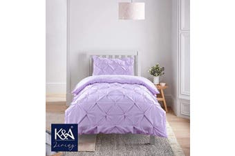 (Single, Purple) - K & A Pintuck Pinch Pleat Duvet Cover Bedding Set including 1 Pillowcase with Zipper Closure, Easy Care Machine Washable, Poly-Cotton Blend (Single, Purple/Lilac)