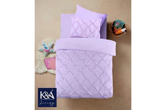 (Cot Bed / Toddler, Purple) - K & A Pintuck Pinch Pleat Duvet Cover Bedding Set including 1 Pillowcase with Zipper Closure, Easy Care Machine Washable, Poly-Cotton Blend (Cot Bed/Toddler, Purple/Lilac)