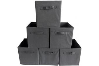 Vlio Square Canvas Foldable Storage Box Collapsible Fabric Cubes Organiser Basket Bin for Laundry, Toys, Clothes, Books and More - Grey (Pack of 6)