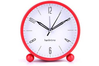(Red) - Accod Desktop Alarm Clock Classic Round Silent Alarm Clock Battery Powered Desk Bedside Clock No Ticking Night Light and Snooze Wake Up Clock 10cm (Red)