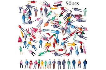 BESTZY 50pcs Standing Pose Mini Painted Model People Figures(1:50) HO Scale Model Train Park Street Passenger People Toys Dollhouse Miniature Accessories