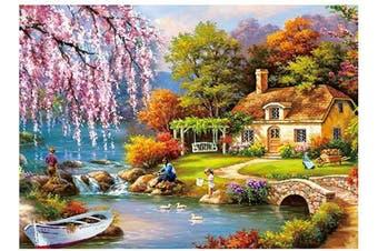 Idyllic Beauty Jigsaw Puzzles for Adults Children 1000 Piece, Large Pieces Unique Jigsaw Puzzles, Nature Landscape, Lake, Fishing, Stone Bridges, Kids, Spring, Fields, 42cm x 30cm (Idyllic Beauty)