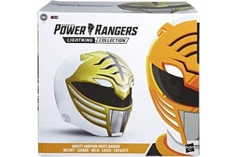 Power Rangers Lightning Collection Mighty Morphin White Ranger Premium Collector Helmet Full-Scale for Display, Roleplay, Cosplay