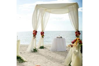 """(beige, 394"""" x 53"""") - BIT.FLY 1000cm x 130cm Sheer Scarf Organza Table Runner for Wedding Swags Valance Reception Backdrop Curtain Baby Shower Tulle Rolls Table Decoration (Ivory)"""