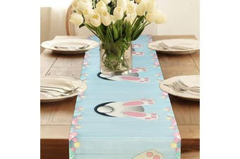 """(Easter 2, 35 x 180 cm) - Alishomtll Easter Table Runners, Rabbit Printed Polyester Table Runner Cloth with 4 x Placemats, Table Linens Decoration for Kitchen Home, 14""""x 70""""(35x180cm), Colourful"""