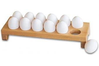 (Dozen Tray) - Wooden Egg Tray Dozen Eggs Holder Natural Wooden Professional Kitchen Gadget, Organiser, Container, Stant, Display for Home, Restaurant, Hotel, Cafe