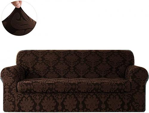 (Sofa, Chocolate(2-piece)) - CHUN YI Floral Jacquard Sofa Cover Stretch Sofa Slipcovers for Couch Fitted Sofa Covers (Sofa, Chocolate(2-piece)) Size: SofaColour: Chocolate(2-piece)