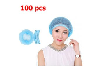 (100 pcs) - 100 pcs Disposable Bouffant Caps - 50cm Anti-Dust Protective Head Hair Cover Hat with Elastic Stretch Band for Medical Labs Nurse Tattoo Hospital – Blue