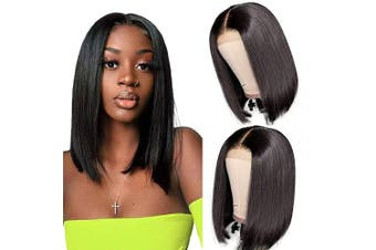 (30cm , 4x4 straight bob wig) - Short Bob Wigs Human Hair Lace Closure Wigs Brazilian Virgin Human Hair Straight Bob lace Front Wigs For Black Women Pre Plucked with Baby Hair Natural Black (30cm )