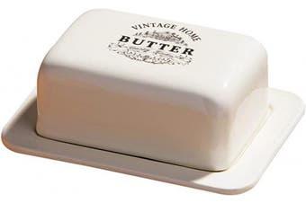 (Cream) - Premier Housewares Vintage Home Butter Dish - Cream