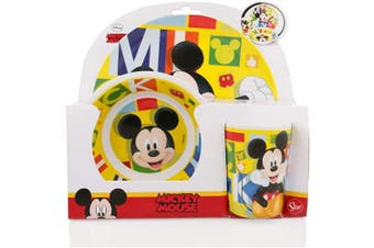 Official Mickey Mouse 3Pcs Coloured BPA Free Melamine Dining Set - Plate, Bowl and Tumbler Dinnerware Set for Children