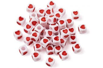 (Cube Heart) - Beadthoven 100 Pieces White Acrylic Heart Shape Plastic Tiny Cube Beads Large Hole Beading for Necklace Bracelet Keychains Kid's Jewellery 7mm Hole: 4mm