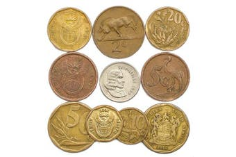(South Africa) - 10 SOUTH AFRICAN OLD COINS FROM AFRICA (RSA) COLLECTIBLE COINS CENTS. PERFECT CHOICE FOR YOUR COIN BANK, COIN HOLDERS AND COIN ALBUM