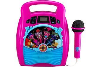 EKids TR-553 Trolls World Tour Karaoke Machine with Bluetooth, LED Lightshow, USB Port, Memory Storage, Pink