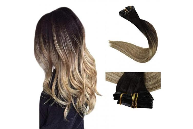 Full Shine Seamless Extensions Clip In Hair 8 Pcs 36cm Balayage Clip In Remy Hair Extensions Dip Dyed Colour 2 Darkest Brown Fading to 8 Highlighted 22 Blonde Seamless Clip in Extensions 100 Gramme