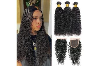 (16/18/20+41cm , Natural Color) - Brazilian Water Wave Bundles with Closure 9A Unprocessed Virgin Human Hair Weave 3 Bundles with Closure Natural Black Remy Hair Extensions Wet and Wavy Human Hair Weave Bundles Full End and Soft