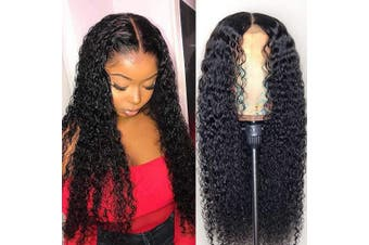 (46cm ) - ALLRUN Curly Human Hair Lace Front Wigs Kinky Curly Virgin Hair Wig 150% Density 13x 4 Lace Front Wigs for Black Women (46cm )