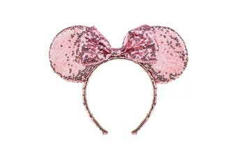 (Pink of sakura dream) - A Miaow Sequin Black Mouse Ears Headband MM Glitter Hair Clasp Adults Women Girls Butterfly Hair Hoop Birthday Party Holiday Park Photo Supply (Pink of sakura dream)