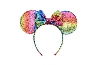 (Rainbow dk-rb) - A Miaow Sequin Black Mouse Ears Headband MM Glitter Hair Clasp Adults Women Girls Butterfly Hair Hoop Birthday Party Holiday Park Photo Supply (Rainbow dk-rb)