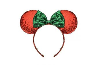 (Red and Green) - A Miaow Sequin Black Mouse Ears Headband MM Glitter Hair Clasp Adults Women Girls Butterfly Hair Hoop Birthday Party Holiday Park Photo Supply (Red and Green)
