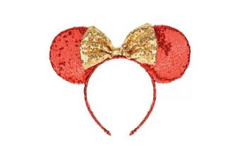 (Red and Golden) - A Miaow Sequin Black Mouse Ears Headband MM Glitter Hair Clasp Adults Women Girls Butterfly Hair Hoop Birthday Party Holiday Park Photo Supply (Red and Golden)