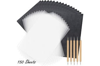 (Black white 150) - TUPARKA 150 Sheets Carbon Copying Paper and Tracing Paper with 5 Pieces Embossing Styluses Stylus Tools,Black Carbon Transfer Paper for Tracing on Wood,Fabric Tattoo Stencil Copy Accessory