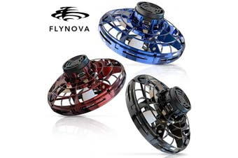 (Blue+Red+Black) - FlyNova 2020 Upgraded The Most Tricked-Out Flying Spinner, Hand Operated Drones for Kids or Adults - UFO Flying Toy with 360° Rotating and Shinning LED Lights