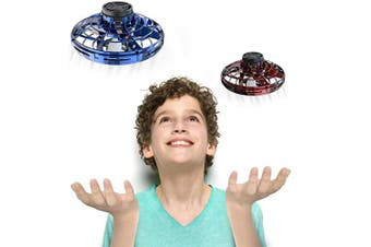 (Blue+Red) - FlyNova 2020 Upgraded The Most Tricked-Out Flying Spinner, Hand Operated Drones for Kids or Adults - UFO Flying Toy with 360° Rotating and Shinning LED Lights