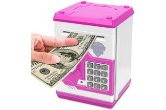(Pink) - Adsoner Cartoon Piggy Bank, Electronic ATM Password Cash Coin Can Auto Scroll Paper Money Saving Box Gift for Kids (Pink)