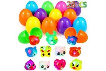 Acekid Easter Eggs Filled with Light Up Rings, 28pcs Kids Cartoon LED Finger Rings Set, Easter Theme Party Favour, Easter Eggs Hunt, Basket Stuff Fillers for Boys & Girls