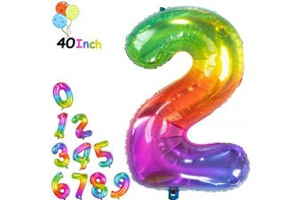 (Rainbow 2, 40 Inch) - 100cm Jelly Birthday Number 2 Balloons Foil Helium Mylar Birthday Shiny Rainbow Front Silver Back Decoration Party Supplies