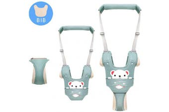 (Green-B) - Baby Walking Assistant,Autbye Adjustable Toddler Walking Harness Handle Baby Walker with Detachable Crotch & Bib,Breathable and Comfortable for Toddlers Infant Learning to Walk (Green-B)