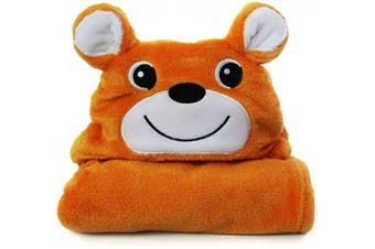 (Orange deer) - Baby Animal Face Hooded Towel - Premium Organic Bamboo Baby Bath Towel – Hypoallergenic Towels for Infant and Toddler – Perfect (Orange Deer)