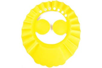 (Yellow) - Auma Soft Adjustable Baby Shower Safe Protection Cap - Cute Leak Proof Children Shampoo Bath Bathing Wash Hair Shield Hat for Toddler, Kids - Yellow…
