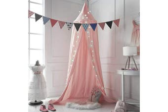 (Pink) - FLORICA Bed Canopy Mosquito Net Dome Princess Bed Canopy Kids Play Tent for Kids Baby Crib Cotton Height 94.9 inch/240cm (Pink)