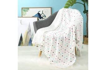 (120x150cm, White Dot) - i-baby Large Baby Blanket Soft Toddler Blanket, 3D Print Flannel Fleece Cosy Kids Blanket, Warm Infant Wrap Crib Blanket (120x150cm, White Dot)
