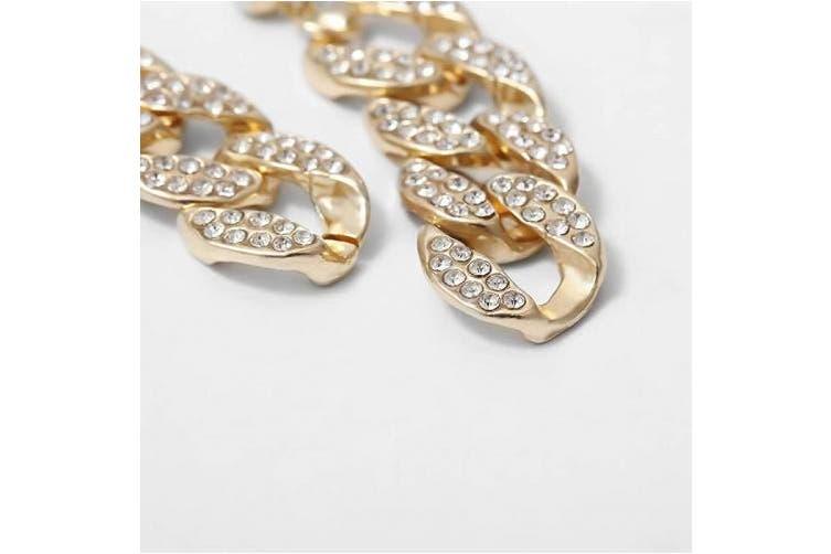 (Gold) - Aimimier Bohemian Diamond-studded Chain Link Drop Stud Earrings Long Dangle Hoops Earrings for Women Prom Party Ear Jewellery (Gold)