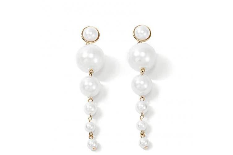 Denifery Long Tassel Earrings Fringe Dangle Earrings Pearls Earrings Thin Earrings Handmade Bohemian Statement Earrings for Women Girls Daily Party
