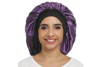 (Pure Purple) - Large Silky Bonnet Satin Sleep Cap Wide Elastic Band for Women Curly Natural Long Hair (Pure Purple)