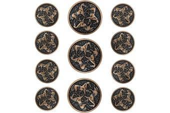 (Antique Copper) - Bezelry Celtic Horses Metal Shank Buttons. Blazer Button Set. 3 Pcs of 25mm, 8 Pcs of 18mm (Antique Copper)